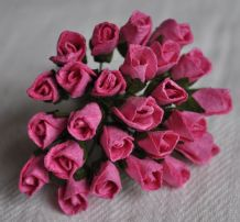 6mm DEEP PINK ROSE BUDS (L) Mulberry Paper Flowers